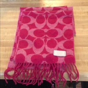 Coach Pink C Lambswool Scarf